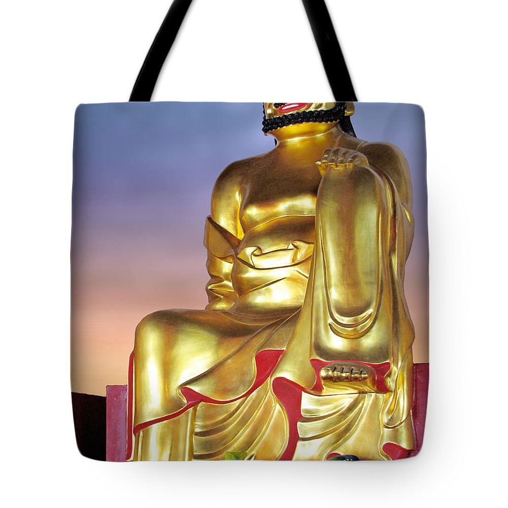 Deity Tote Bag featuring the photograph Buddha by Christine Till