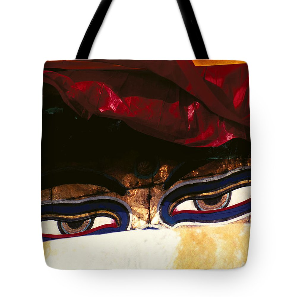 Eyes Tote Bag featuring the photograph Buddha Eyes by Patrick Klauss