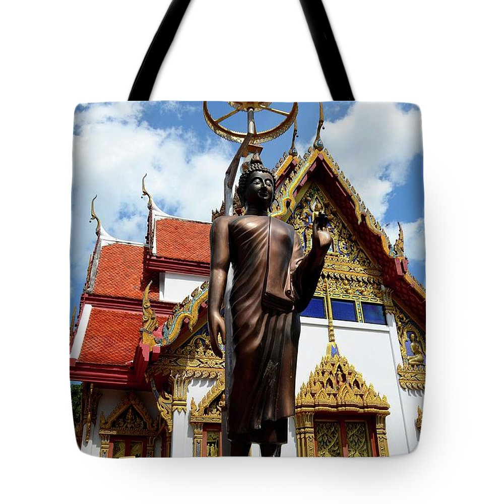 Temple Tote Bag featuring the photograph Buddha Statue With Sunshade Outside Temple Hat Yai Thailand by Imran Ahmed
