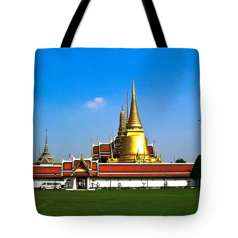 Buddha Tote Bag featuring the photograph Buddhaist Temple by Douglas Barnett