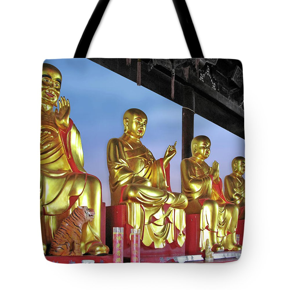 Buddhas Tote Bag featuring the photograph Buddhas Delight - Representations Of Buddhism by Christine Till