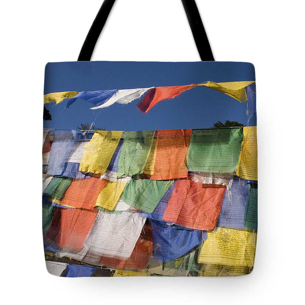 Bhutan Tote Bag featuring the photograph Buddhist Prayer Flags by Howie Garber