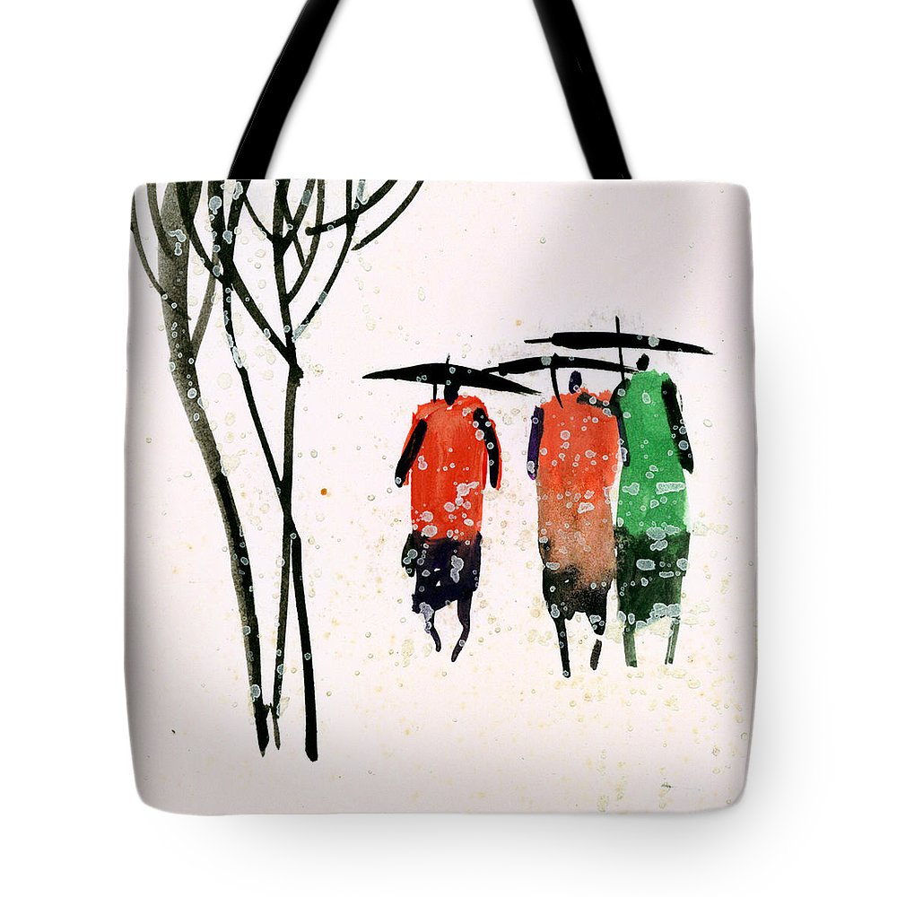 People Tote Bag featuring the painting Buddies 3 by Anil Nene