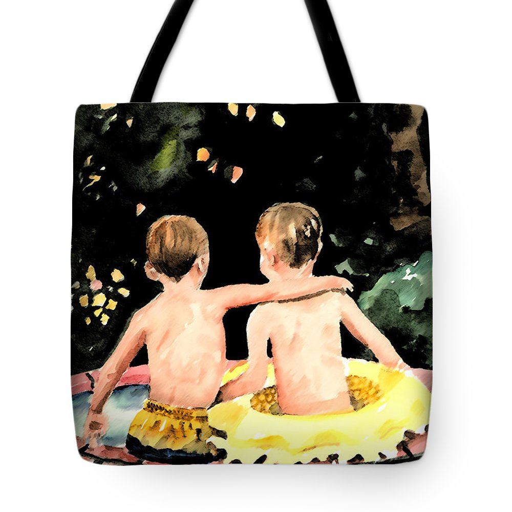 Boys Tote Bag featuring the painting Buddies by Arline Wagner