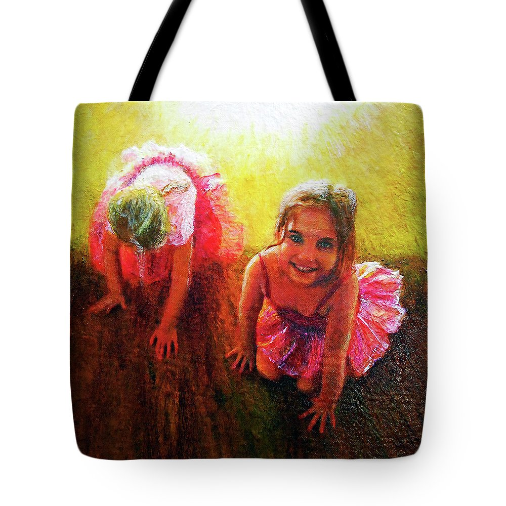 Ballerina Tote Bag featuring the painting Budding Ballerinas by Michael Durst