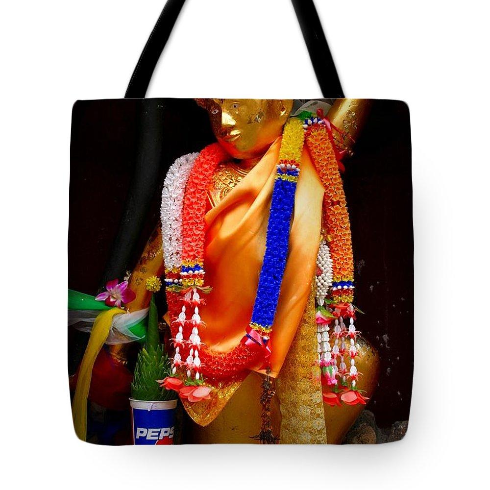 Buddism Tote Bag featuring the photograph Buddism And Pepsi Shrine by Minaz Jantz