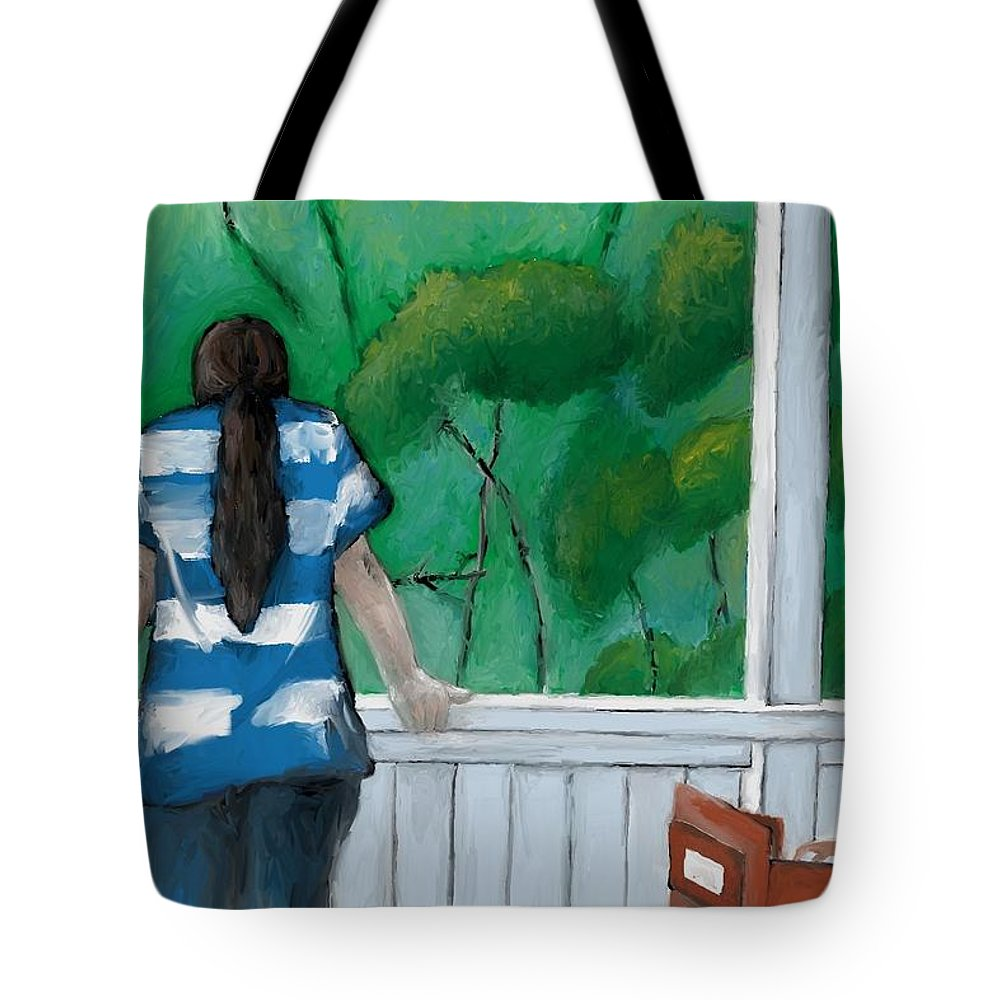 People Tote Bag featuring the painting Buddy And Ella by Suryadas Joel Holliman
