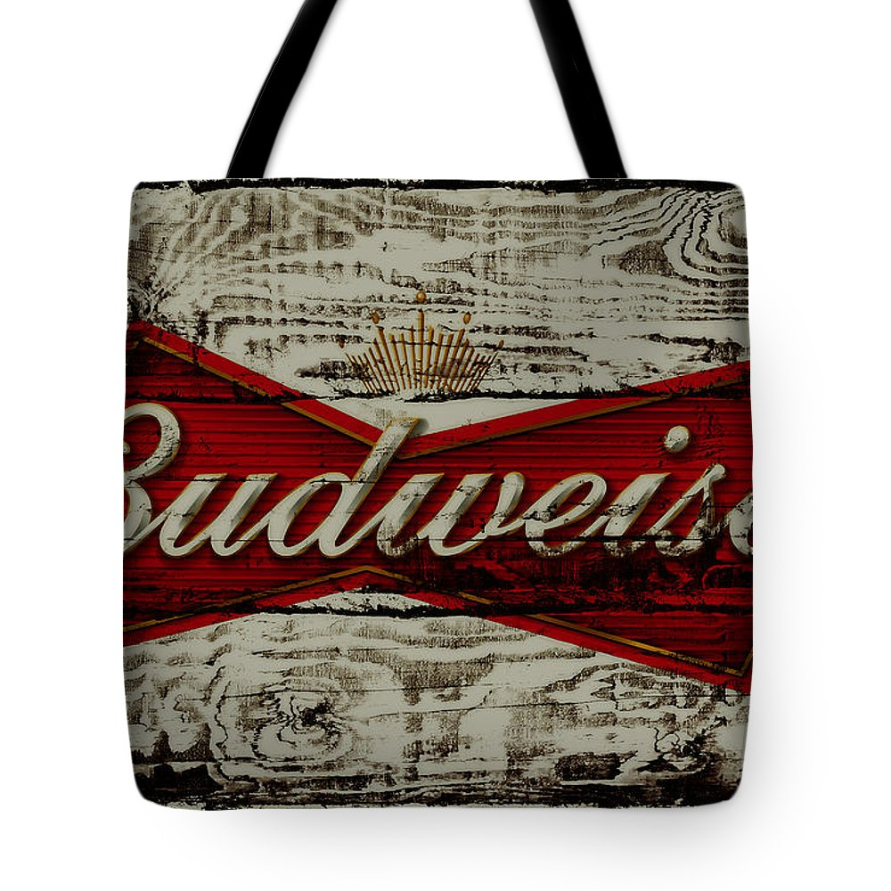Budweiser Tote Bag featuring the photograph Budweiser Wood Art 5b by Brian Reaves