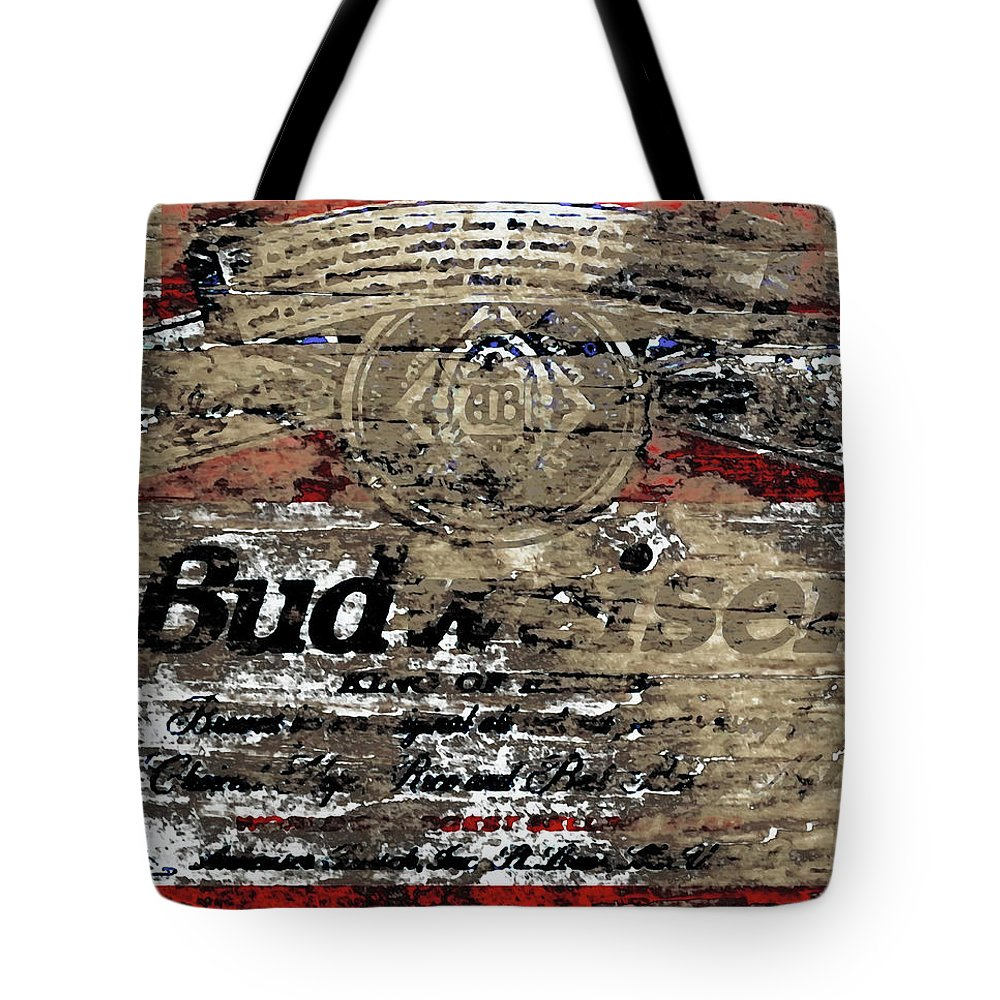 Budweiser Tote Bag featuring the mixed media Budweiser Wood Art 5c by Brian Reaves