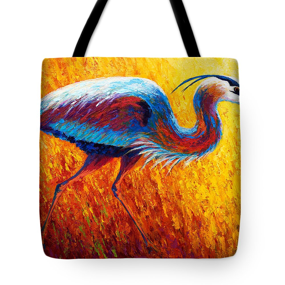 Tote Bag featuring the painting Bue Heron 2 by Marion Rose