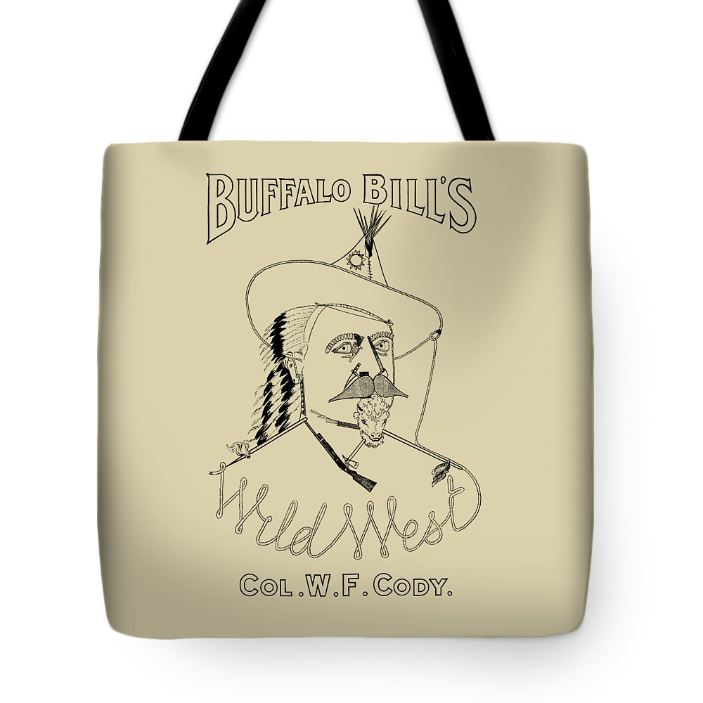 Buffalo Bill Tote Bag featuring the drawing Buffalo Bill's Wild West - American History by War Is Hell Store