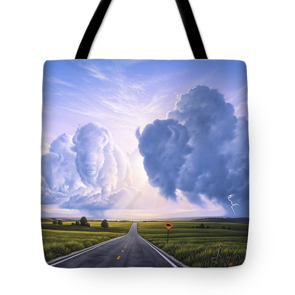 Buffalo Tote Bag featuring the painting Buffalo Crossing by Jerry LoFaro