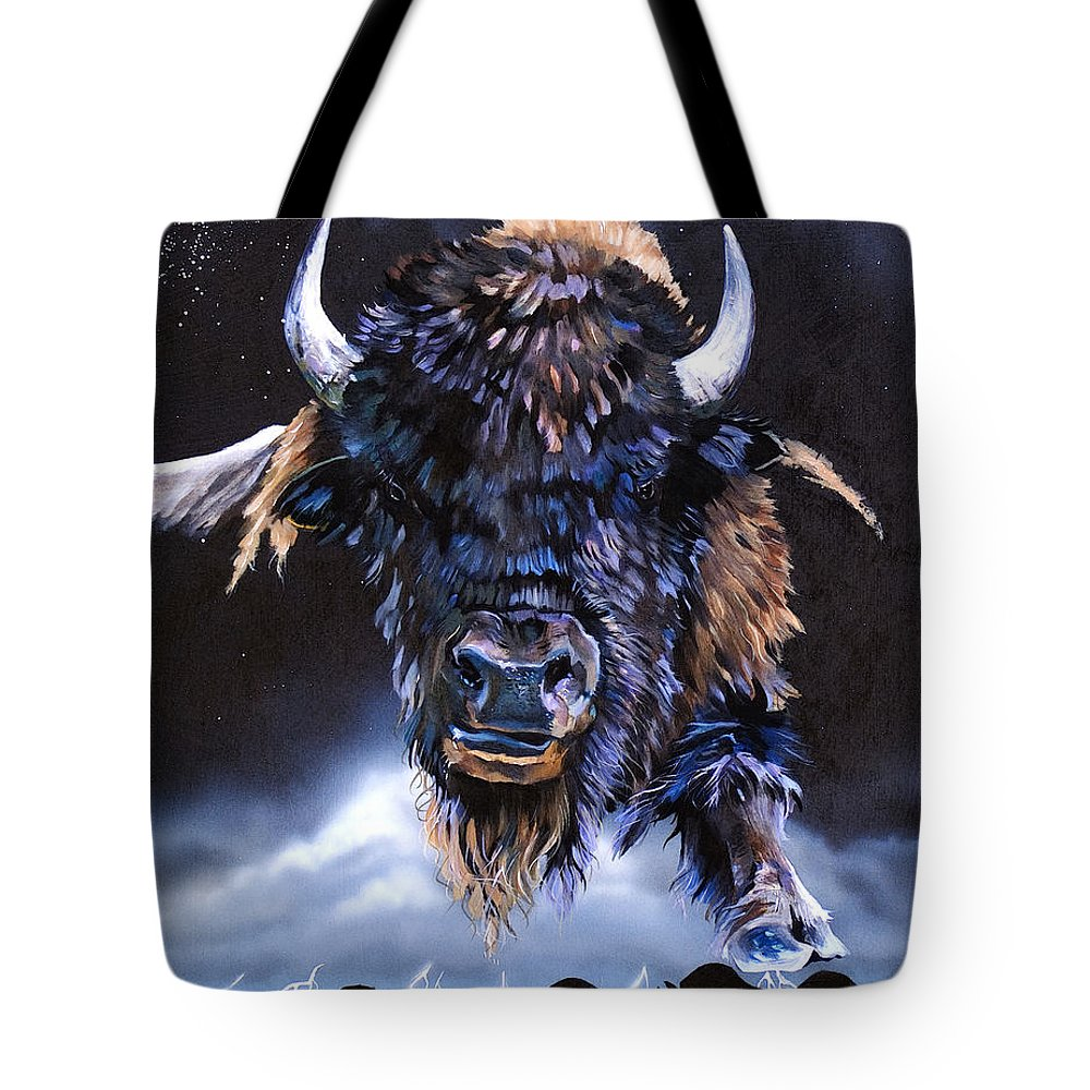Buffalo Tote Bag featuring the painting Buffalo Medicine by J W Baker