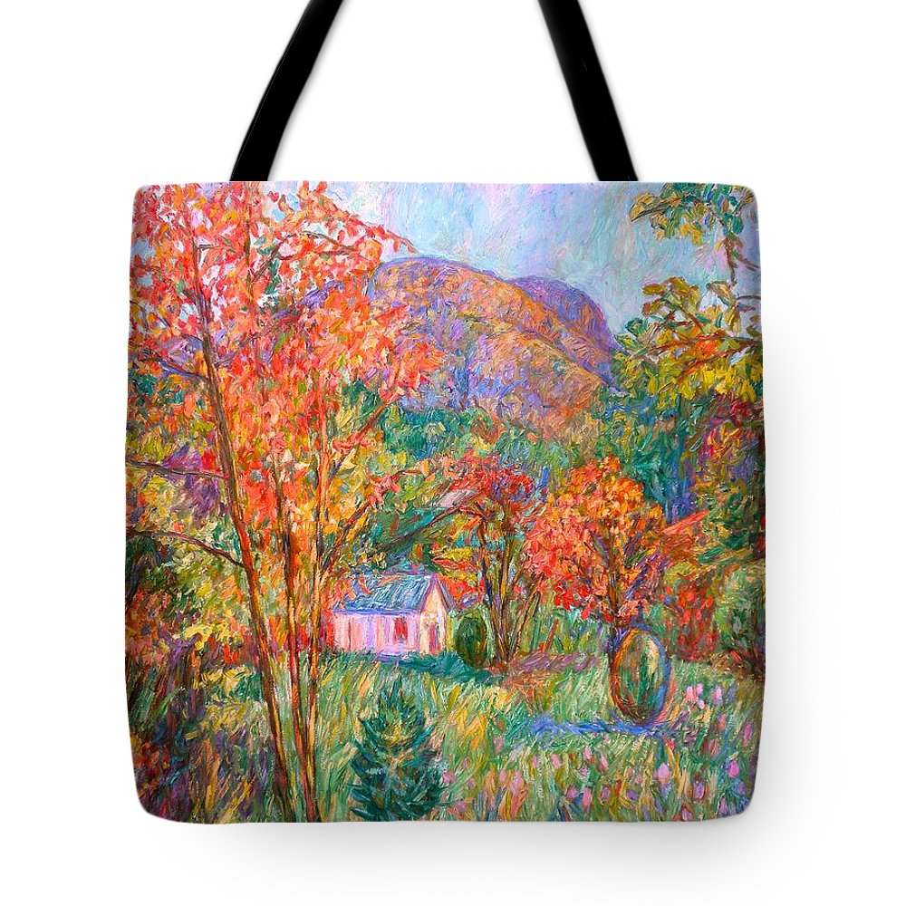 Landscape Tote Bag featuring the painting Buffalo Mountain In Fall by Kendall Kessler