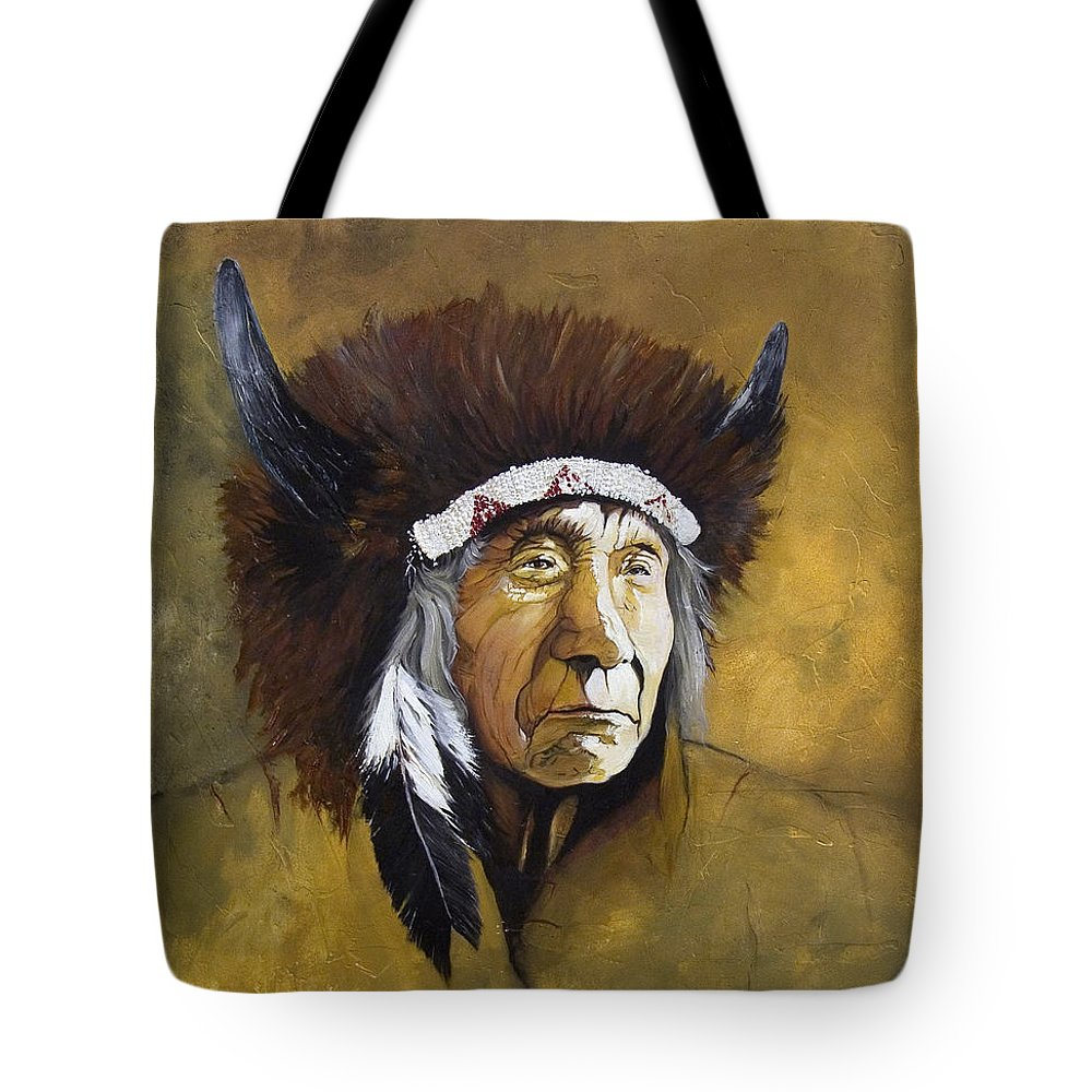 Shaman Tote Bag featuring the painting Buffalo Shaman by J W Baker