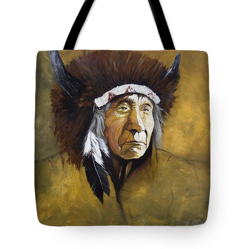 Shaman Tote Bag featuring the painting Buffalo Shaman by J W Baker