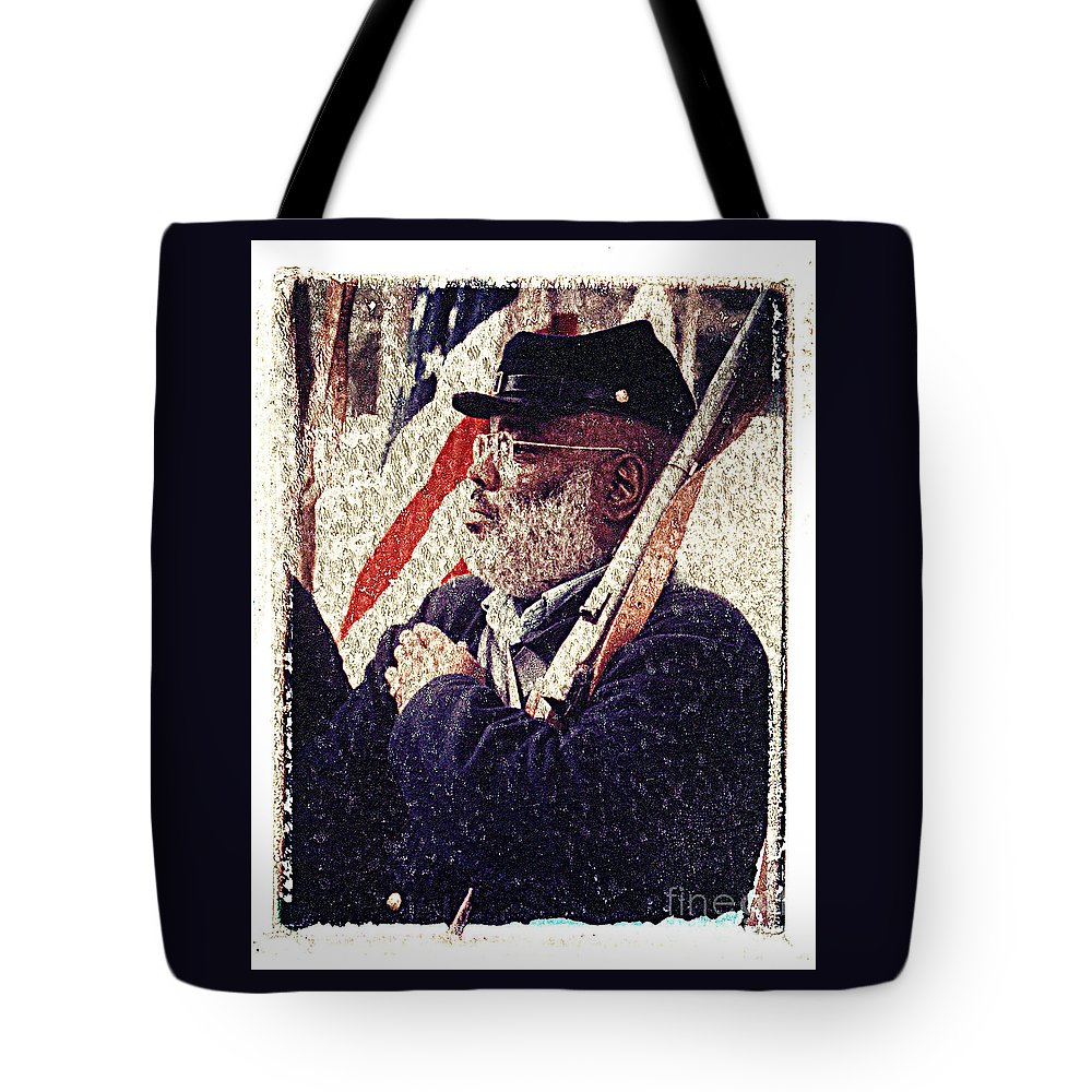 Buffalo Soldier Tote Bag featuring the photograph Buffalo Soldier by Keith Dillon