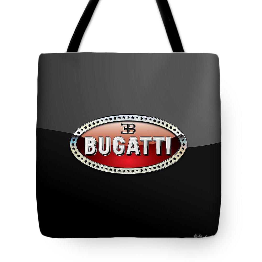 �wheels Of Fortune� Collection By Serge Averbukh Tote Bag featuring the photograph Bugatti - 3 D Badge On Black by Serge Averbukh