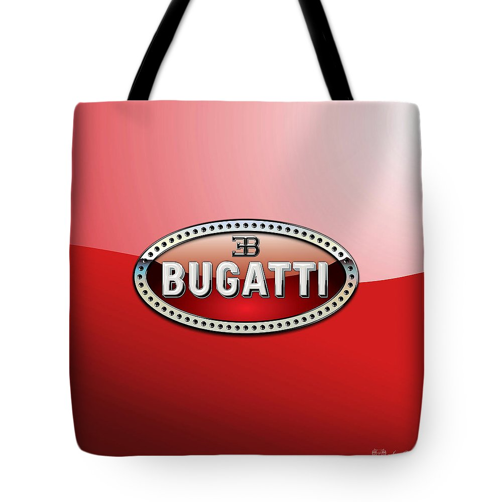 �wheels Of Fortune� Collection By Serge Averbukh Tote Bag featuring the photograph Bugatti - 3 D Badge on Red by Serge Averbukh