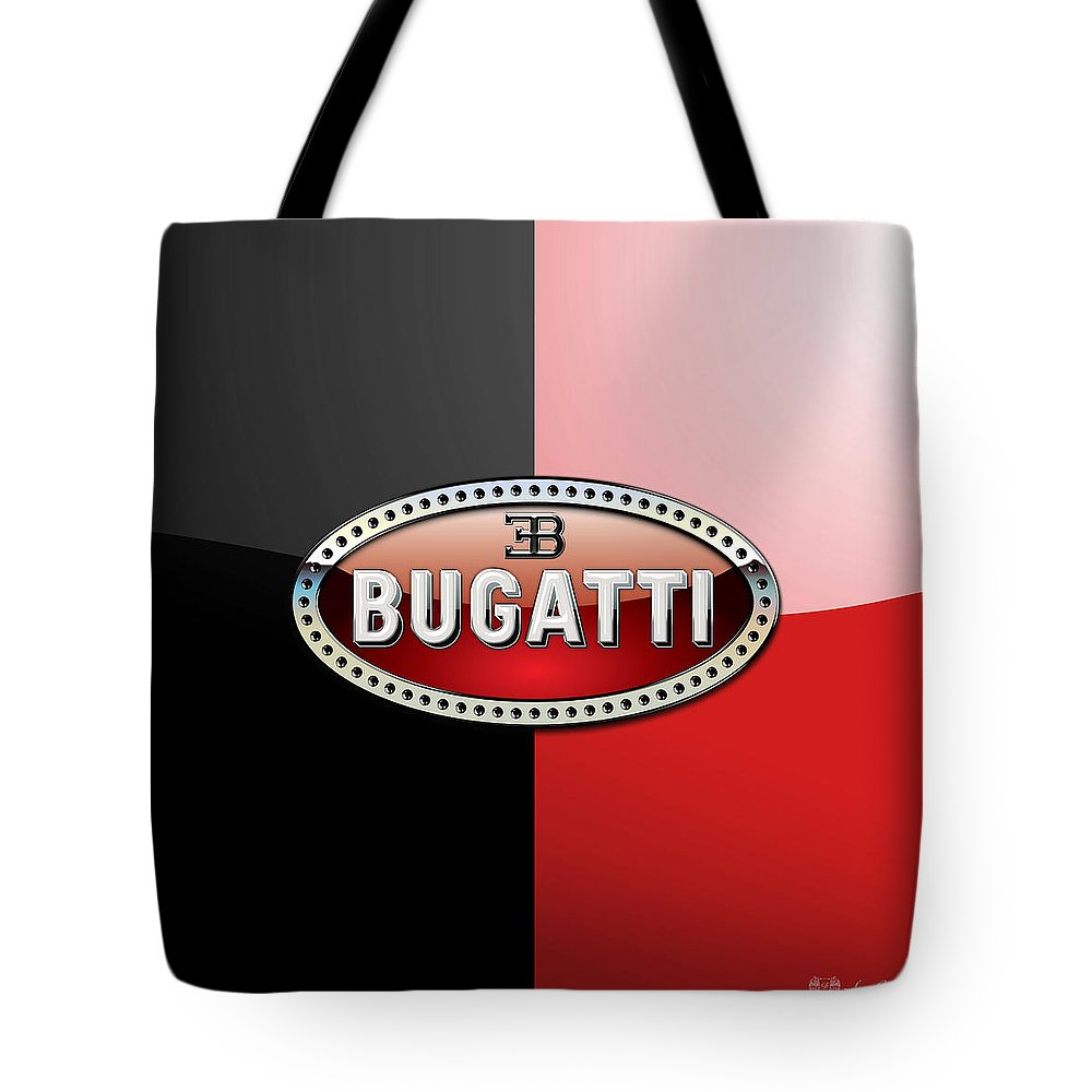 Wheels Of Fortune By Serge Averbukh Tote Bag featuring the photograph Bugatti 3 D Badge on Red and Black by Serge Averbukh