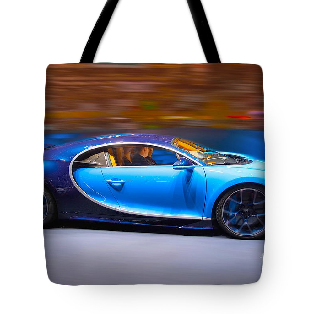 Car Tote Bag featuring the mixed media Bugatti Chiron 3 by Garland Johnson