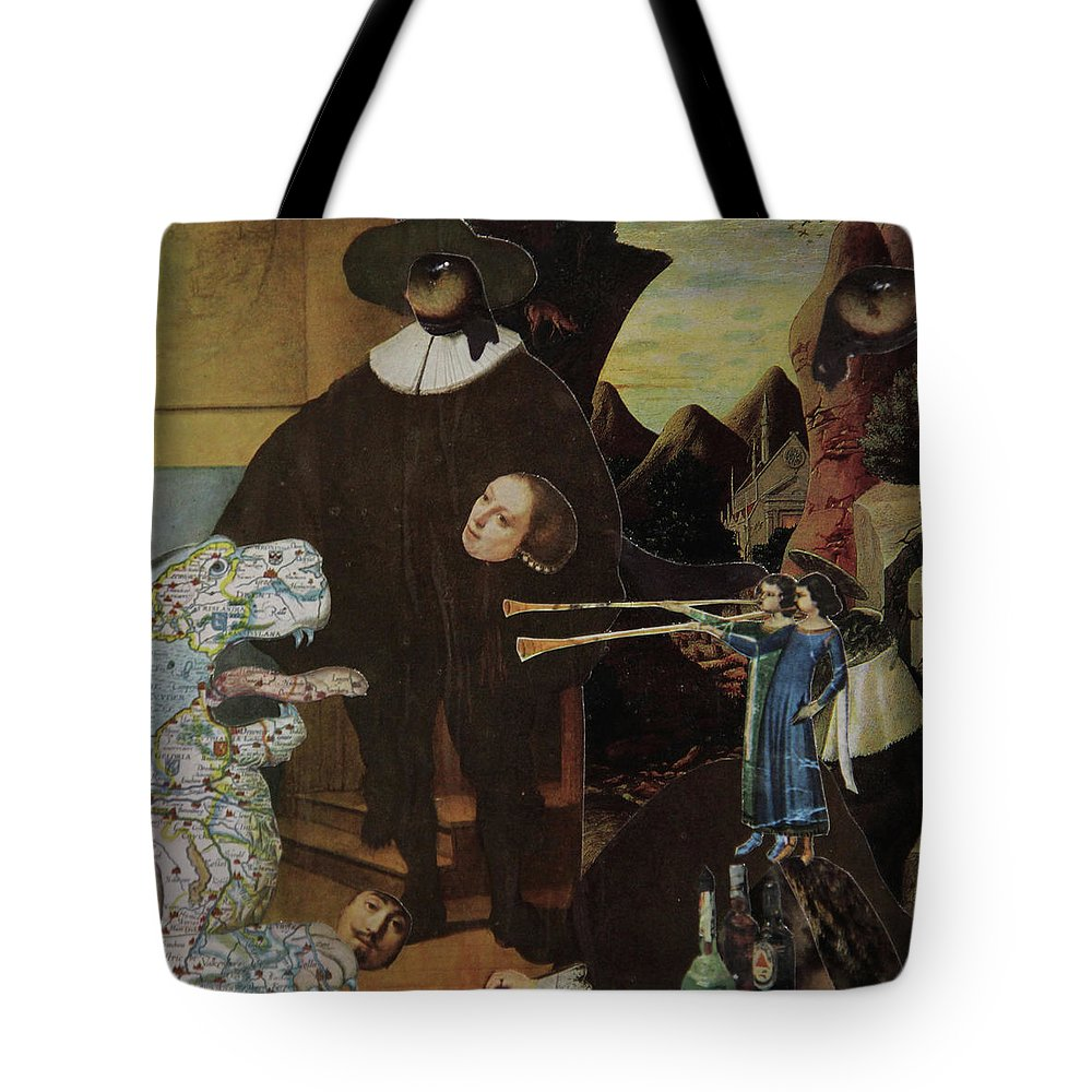 Collage Tote Bag featuring the mixed media Bugle's For Tiger by Joseph Demaree