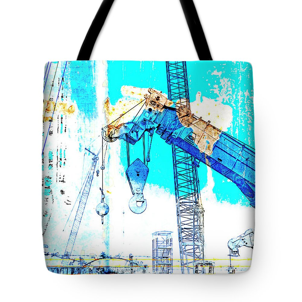 Shipyard Tote Bag featuring the mixed media Building Boats by Carol Leigh