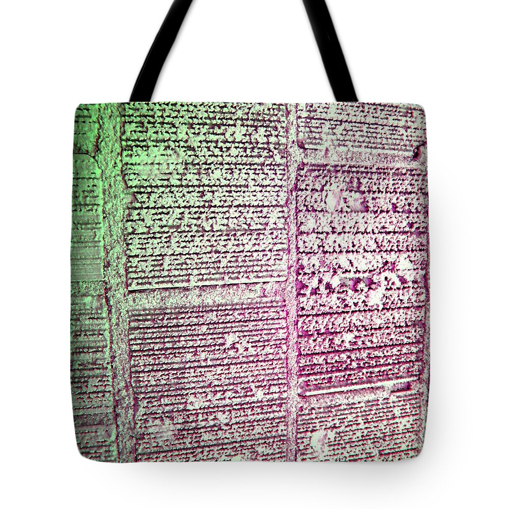 Abstract Tote Bag featuring the digital art Building Hieroglyphics by Lenore Senior