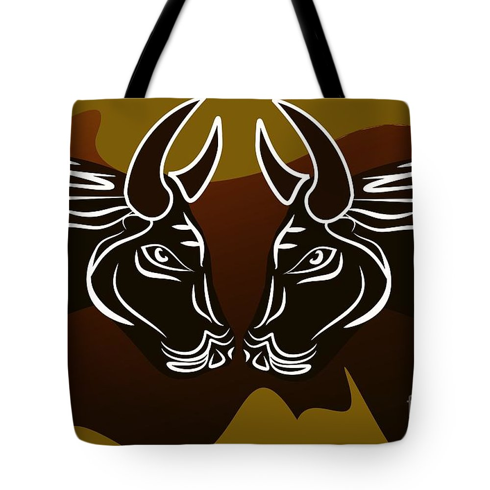 Bull Tote Bag featuring the digital art Bull by Andre Parra