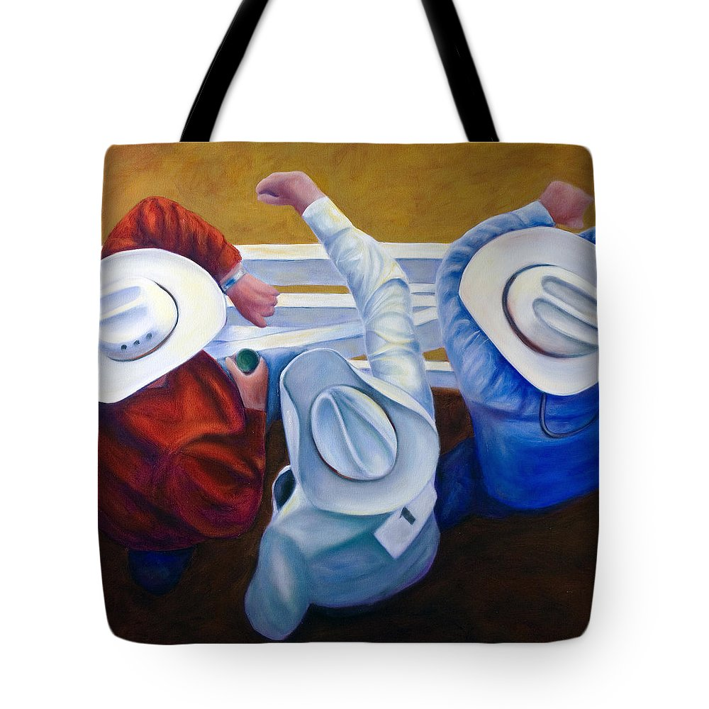 Western Tote Bag featuring the painting Bull Chute by Shannon Grissom