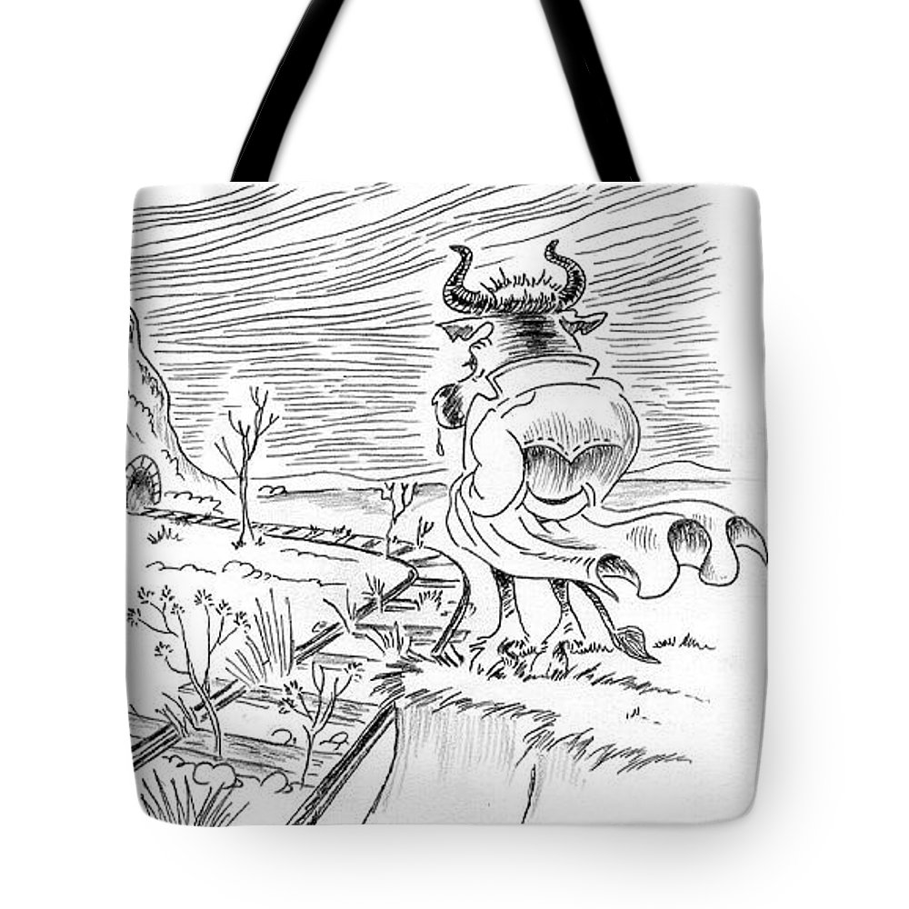 Bull Tote Bag featuring the drawing Bull by Ersin Ipek