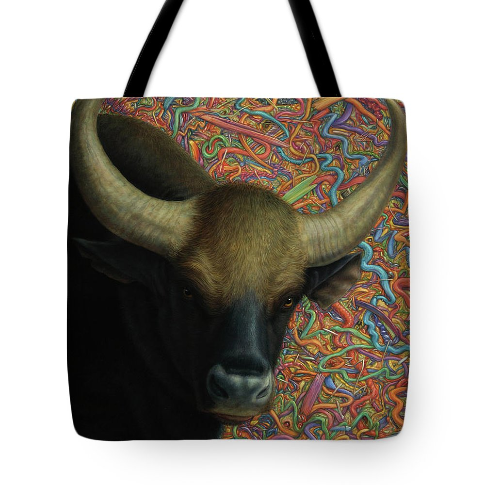 Bull Tote Bag featuring the painting Bull In A Plastic Shop by James W Johnson