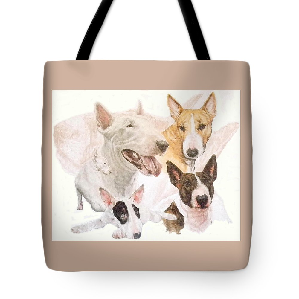 Purebred Tote Bag featuring the mixed media Bull Terrier W/ghost by Barbara Keith