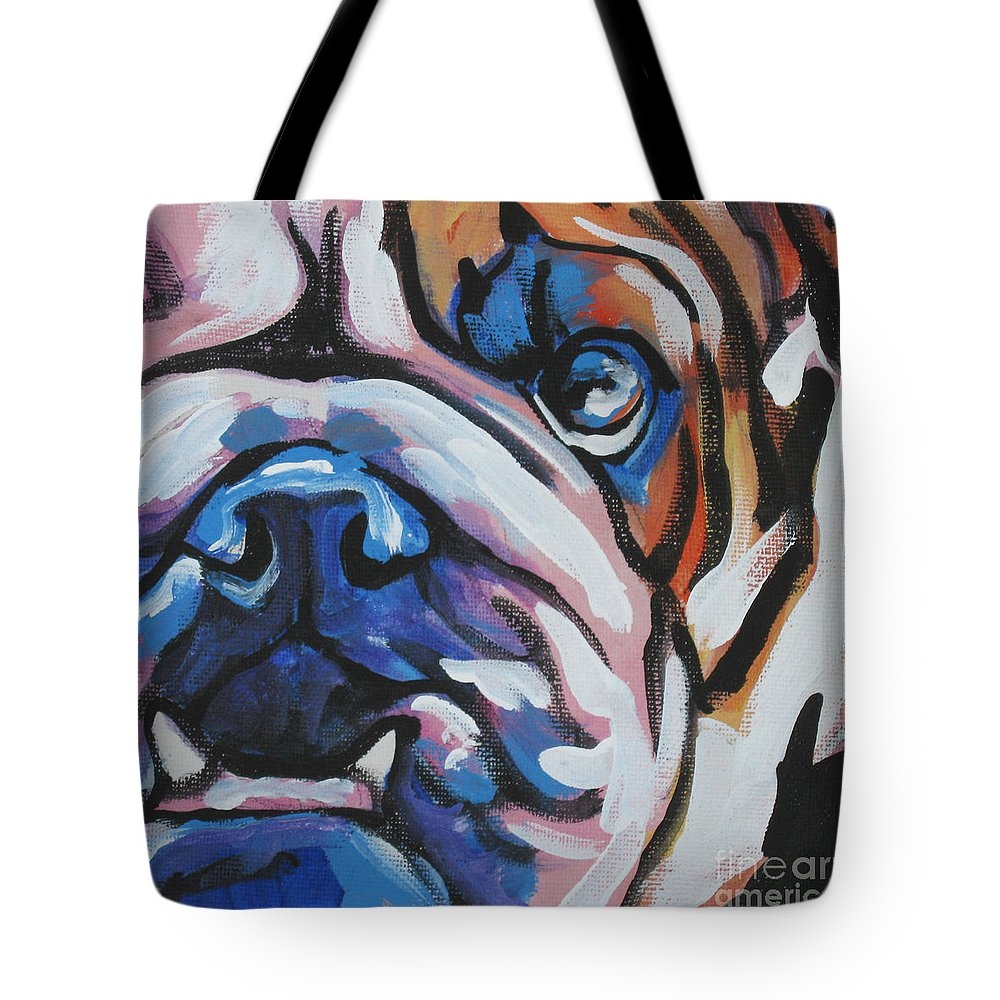 Bulldog Tote Bag featuring the painting Bulldog Baby by Lea S