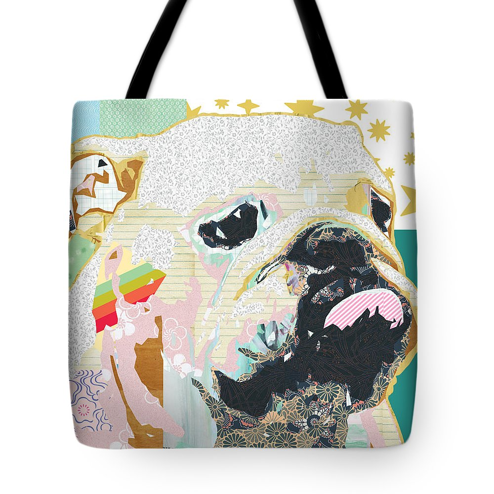 Bulldog Tote Bag featuring the mixed media Bulldog Collage by Claudia Schoen