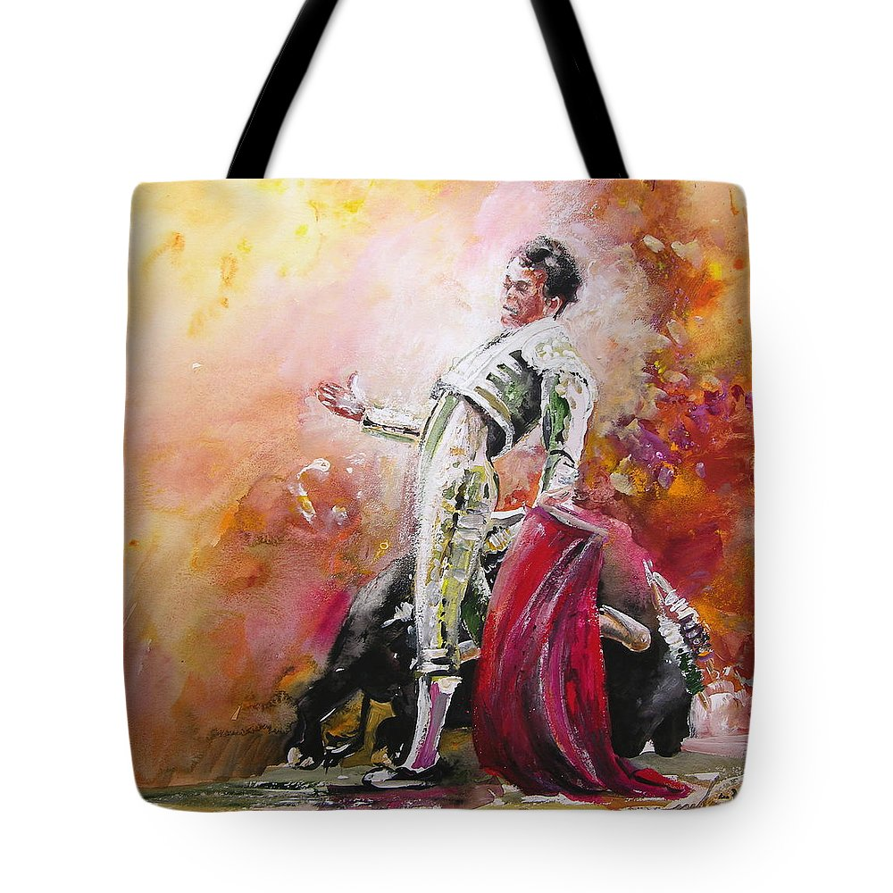 Animals Tote Bag featuring the painting Bullfight 24 by Miki De Goodaboom