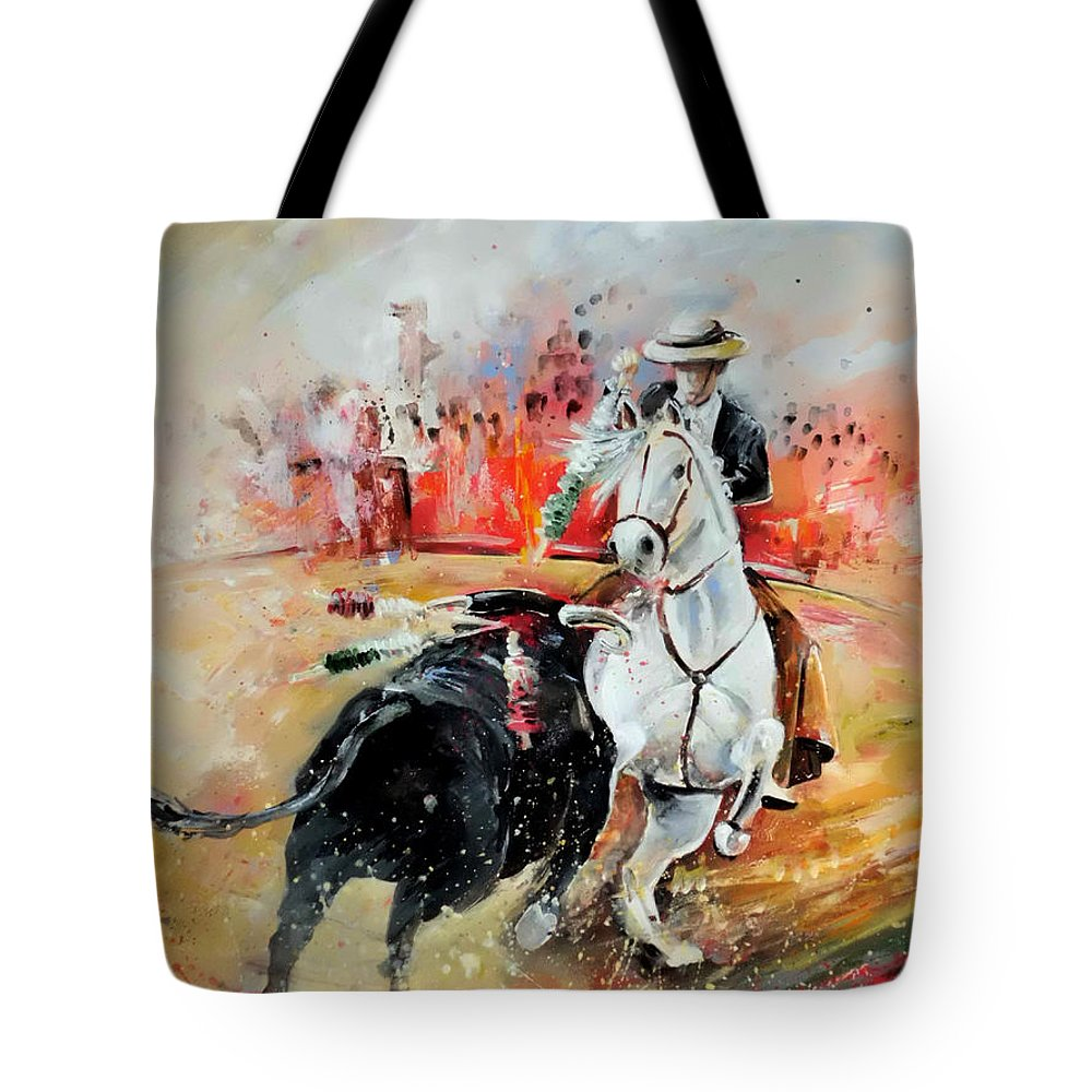 Toros Tote Bag featuring the painting Bullfight 3 by Miki De Goodaboom