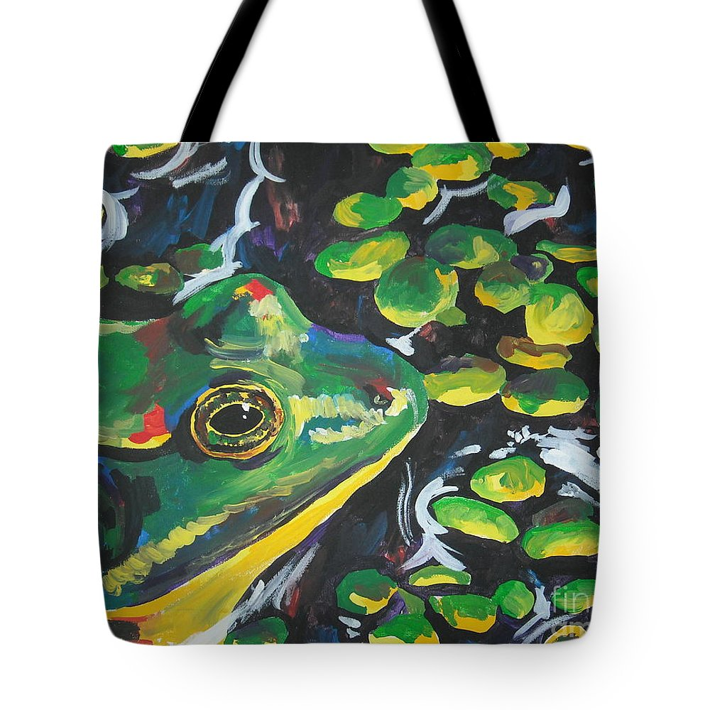 Bullfrog Tote Bag featuring the painting Bullfrog by Caroline Davis