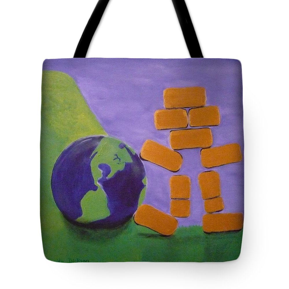 Gold Tote Bag featuring the painting Bullion Supports The World by Monika Shepherdson