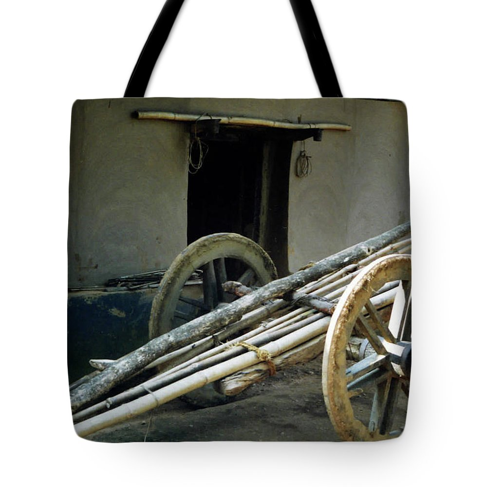Bullock Cart Tote Bag featuring the pyrography Bullock Cart by Ujjwal Rout