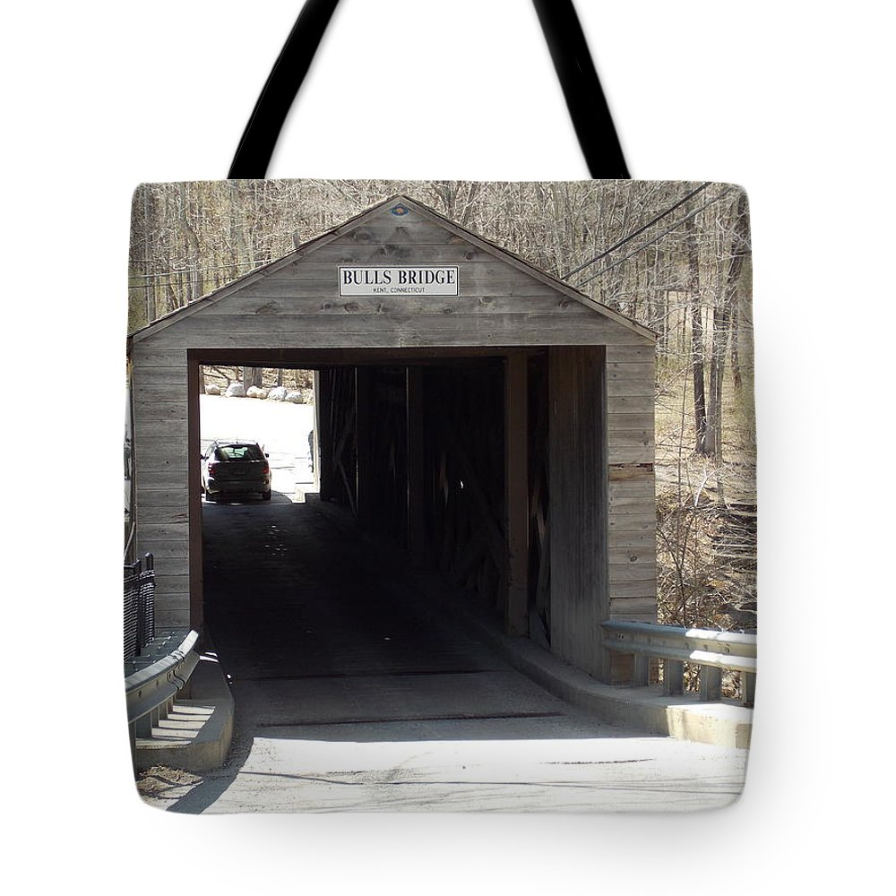 Bulls Bridge Tote Bag featuring the photograph Bulls Covered Bridge by Catherine Gagne