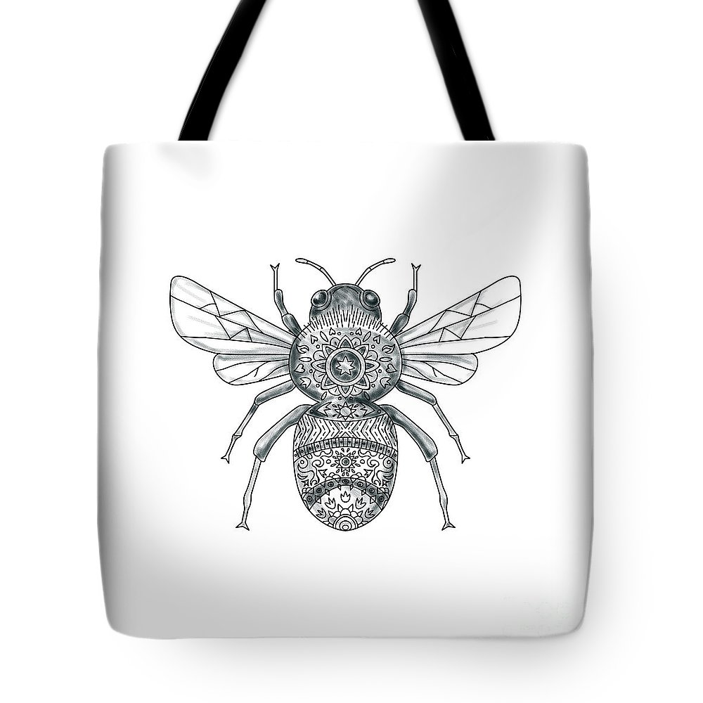 fe59fa4714874 Tattoo Tote Bag featuring the digital art Bumble Bee Mandala Tattoo by Aloysius  Patrimonio