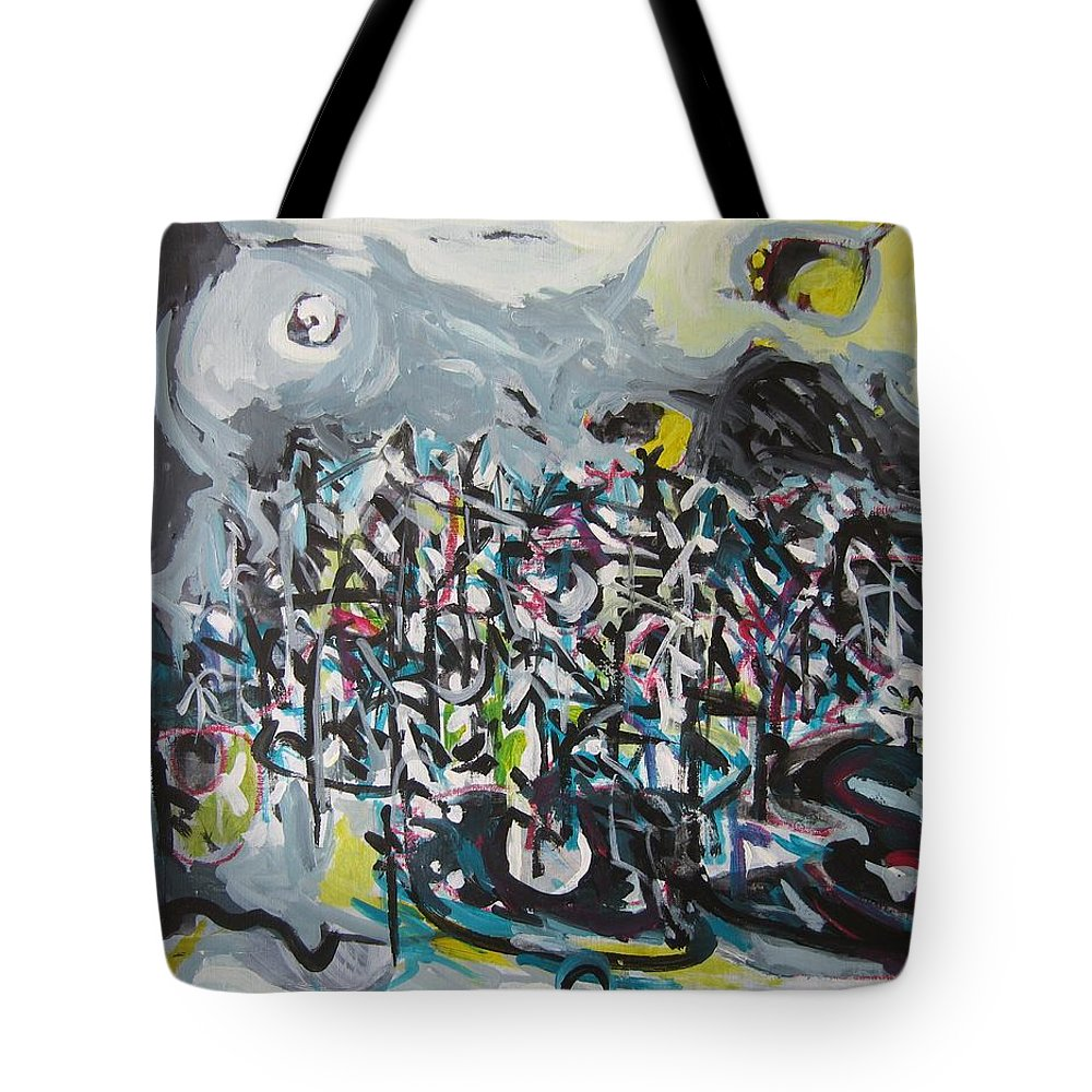 Abstract Paintings Tote Bag featuring the painting Bummer Flat11 by Seon-Jeong Kim