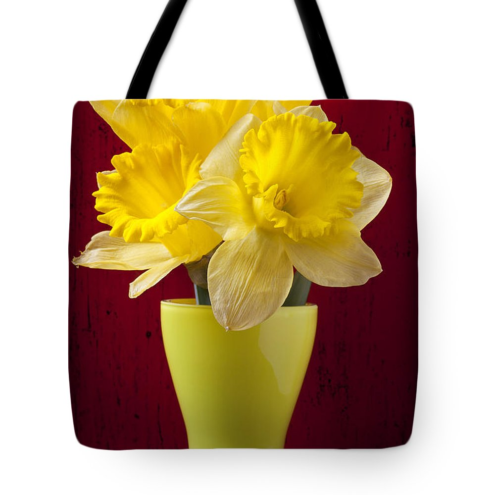 Yellow Tote Bag featuring the photograph Bunch Of Daffodils by Garry Gay