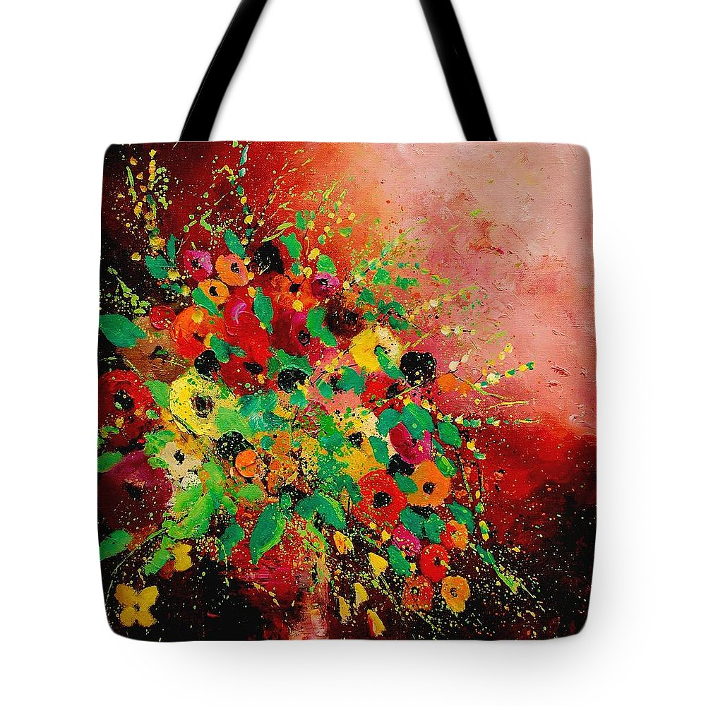 Flowers Tote Bag featuring the painting Bunch Of Flowers 0507 by Pol Ledent