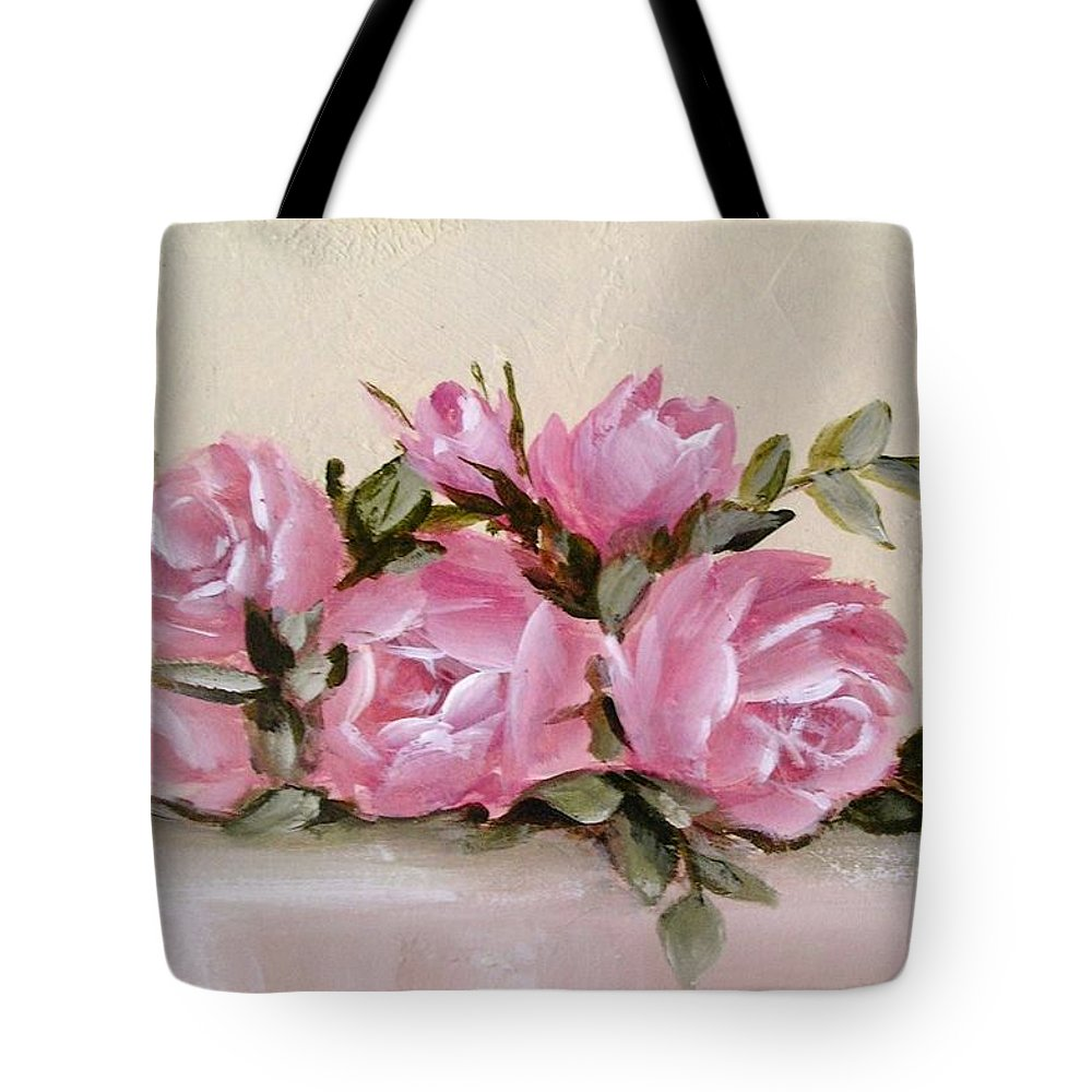 Bunch Of Pink Roses Painting Tote Bag For Sale By Chris Hobel