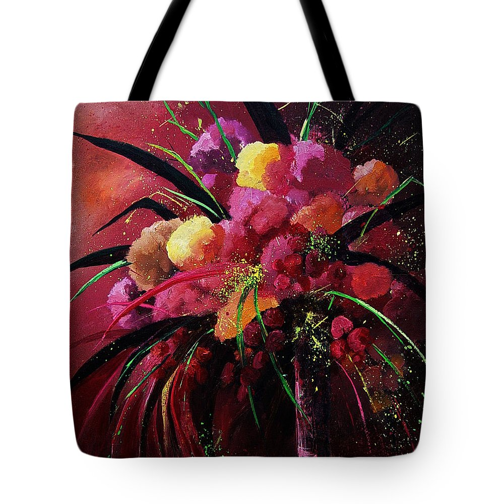 Flowers Tote Bag featuring the painting Bunch Of Red Flowers by Pol Ledent