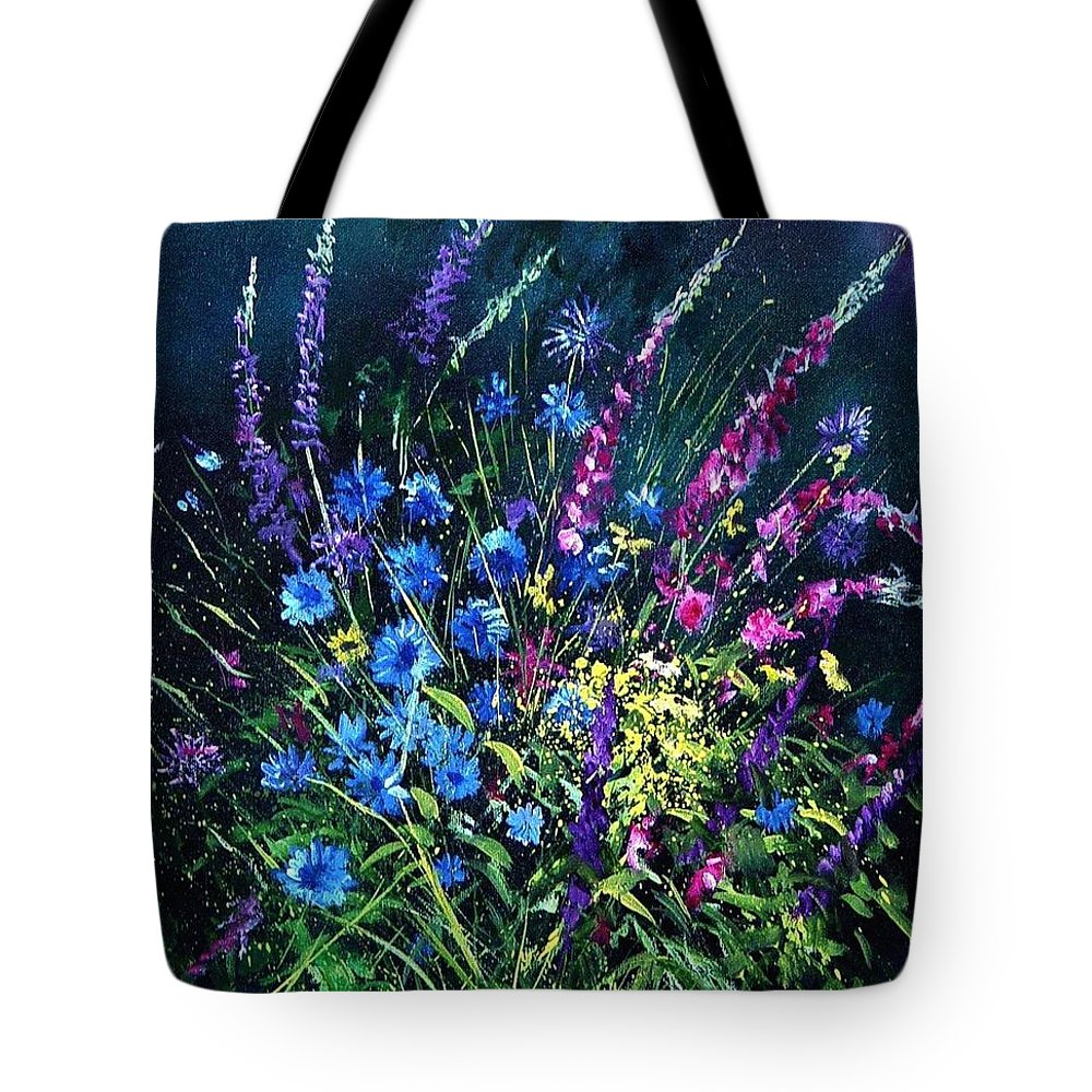 Poppies Tote Bag featuring the painting Bunch Of Wild Flowers by Pol Ledent
