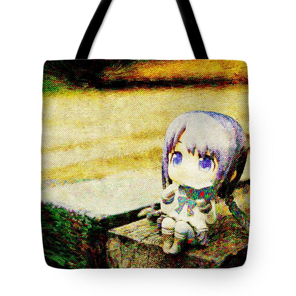Bungaku Shoujo Tote Bag featuring the digital art Bungaku Shoujo by Lora Battle