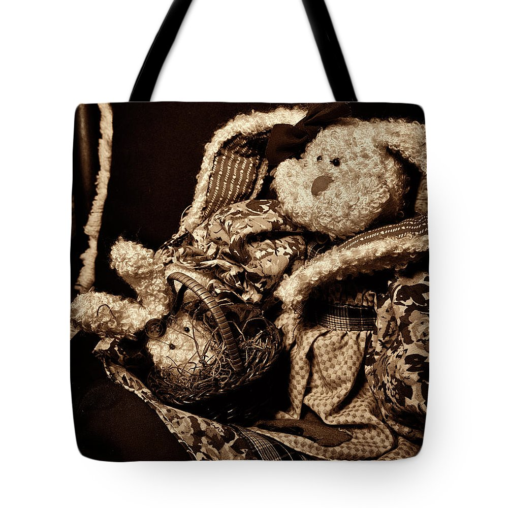 Bunny Tote Bag featuring the photograph Bunny With Her Bunny - Sepia by Christopher Holmes